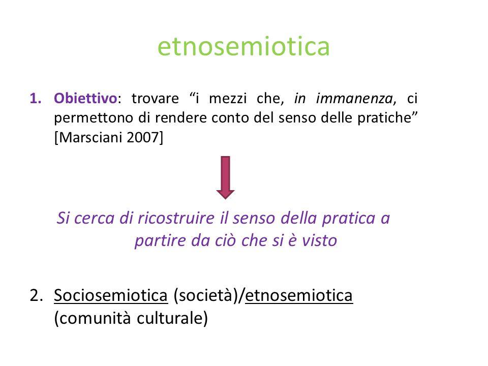 etnosemiotica Obiettivo: trovare i mezzi che, in immanenza, ci permettono di rendere conto del senso delle pratiche [Marsciani 2007]